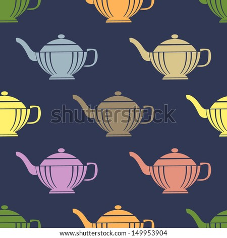Seamless pattern with teapots