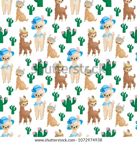 Seamless pattern with the image of cute llamas in cartoon style. Colorful vector background #1072974938