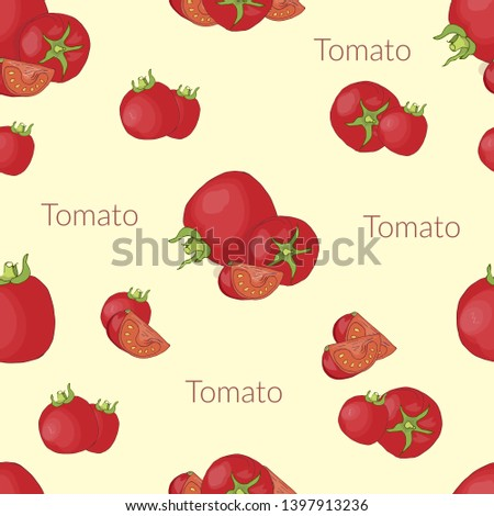 Seamless pattern with the image of juicy tomatoes in vintage style, handmade style, cartoon style with typography
