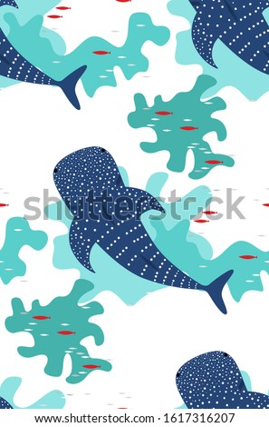 seamless pattern with the whale