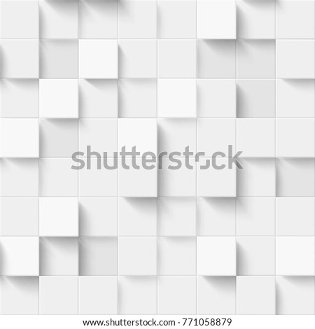 Seamless pattern with three-dimensional cubes. Abstract mosaic of  white colors squares