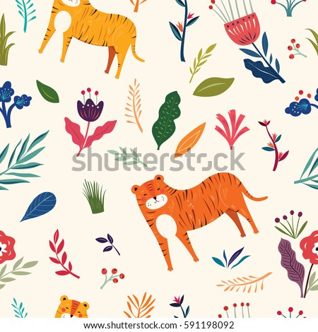 seamless pattern with tiger and