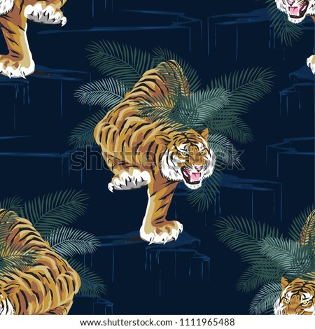 Seamless pattern with tigers and tropical, Illustration vector design
