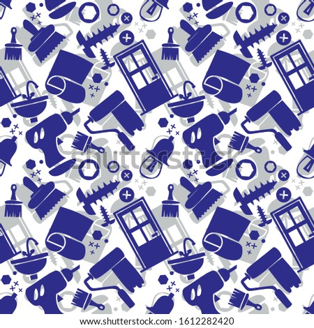 Seamless pattern with tools, carpentry tools, tools for repair, construction. Blue icons, white background. Design for wrapping paper.