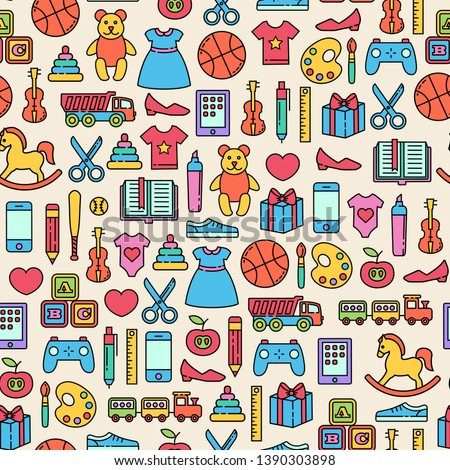 Seamless pattern with toys design elements. Colorful icons on light background