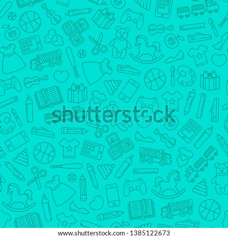 Seamless pattern with toys design elements. Kid toys shopping.