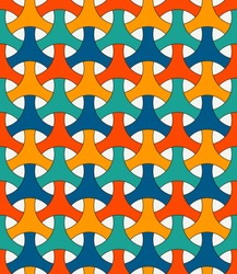Seamless pattern with traditional japanese ornament. Three pronged blocks tessellation. Repeated interlocking figures. Bishamon armor motif. Sashiko embroidery. Vector abstract background