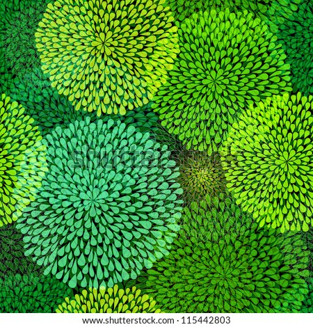 Seamless pattern with  transparent green balls on dark background (vector EPS 10)