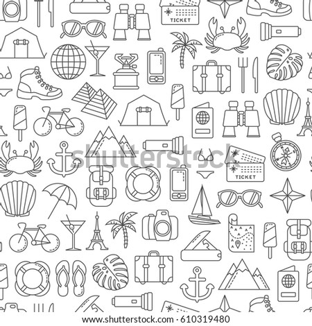 seamless pattern with traveling design elements