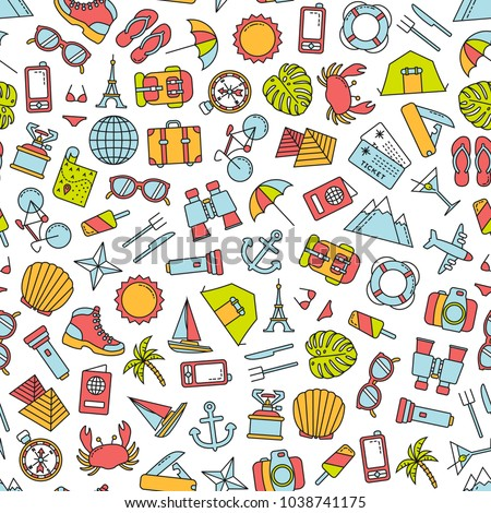seamless pattern with traveling icons