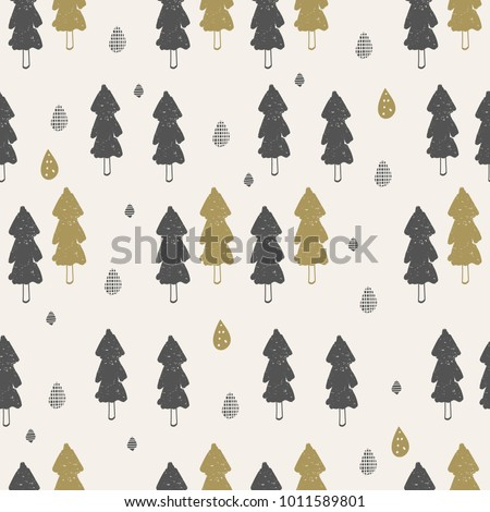 seamless pattern with trees. Hand drawn vector illustration.Can be used for baby t-shirt print, fashion print design, kids wear, shower celebration greeting and invitation card.