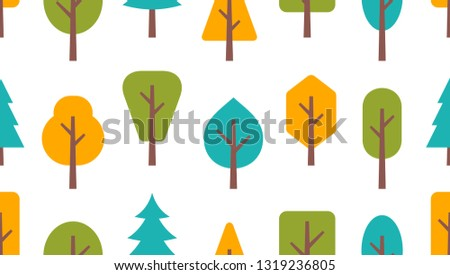 Seamless pattern with trees. isolated on white background