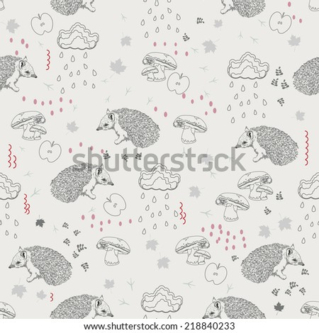 Seamless pattern with trees, shrubs, foliage, animals, hedgehog, cloud, rain, mushrooms, autumn, falling leaves on light background in vintage style. Hand drawing.