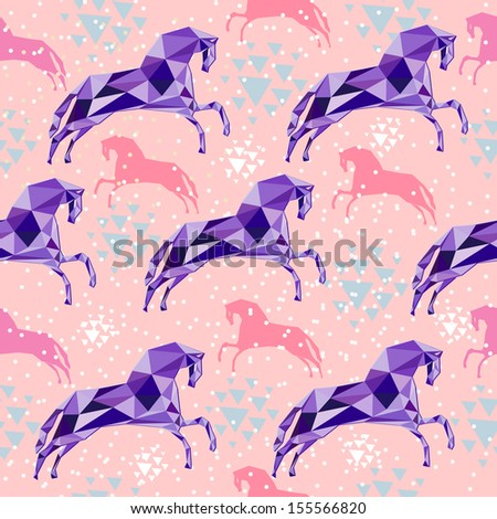 Seamless pattern with triangular horses