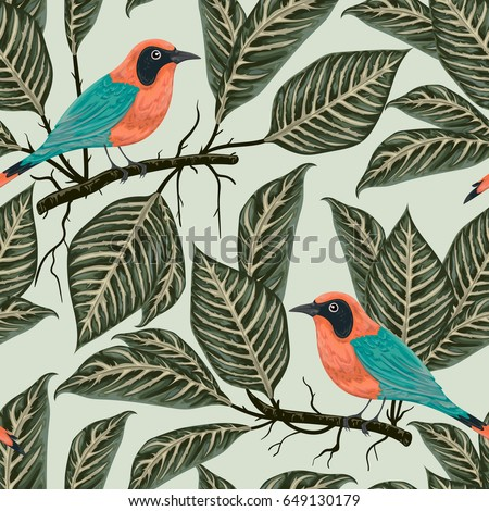 Seamless pattern with tropical birds and plants. Exotic flora and fauna. Vintage hand drawn vector illustration in watercolor style - Shutterstock ID 649130179