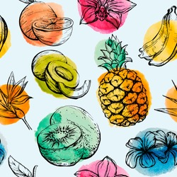 Seamless pattern with Tropical flowersand fruits
