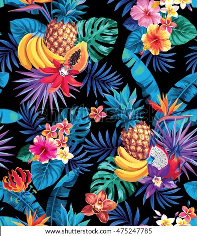 Seamless pattern with tropical fruits, palm leaves and flowers. Vector illustration.