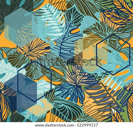 Free Vector Watercolor Leaves Pattern Download Free Vector Art Impressive Tropical Leaves Pattern