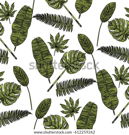 Seamless pattern with tropical leaves on white background. Vector illustration.