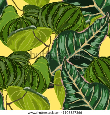 Seamless pattern with tropical leaves: palms, monstera, passion fruit. Beautiful allover print with hand drawn exotic plants. Swimwear botanical design. Vector.  #1106327366