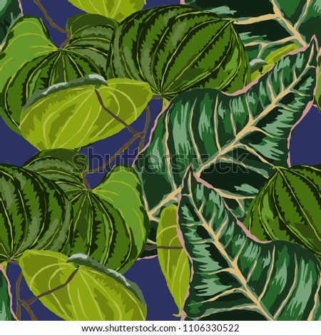 Seamless pattern with tropical leaves: palms, monstera, passion fruit. Beautiful allover print with hand drawn exotic plants. Swimwear botanical design. Vector.  #1106330522