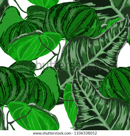 Seamless pattern with tropical leaves: palms, monstera, passion fruit. Beautiful allover print with hand drawn exotic plants. Swimwear botanical design. Vector.  #1106338052