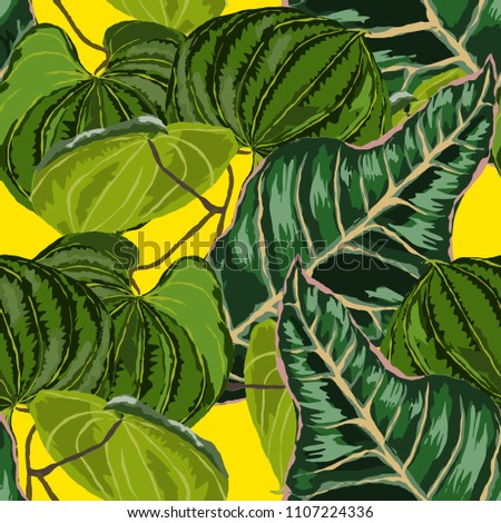 Seamless pattern with tropical leaves: palms, monstera, passion fruit. Beautiful allover print with hand drawn exotic plants. Swimwear botanical design. Vector.  #1107224336