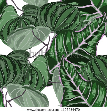 Seamless pattern with tropical leaves: palms, monstera, passion fruit. Beautiful allover print with hand drawn exotic plants. Swimwear botanical design. Vector.  #1107234470