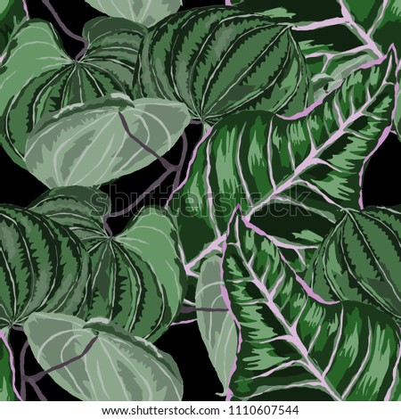 Seamless pattern with tropical leaves: palms, monstera, passion fruit. Beautiful allover print with hand drawn exotic plants. Swimwear botanical design. Vector.  #1110607544