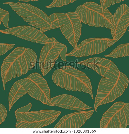 Seamless pattern with tropical leaves. Vector illustration #1328301569