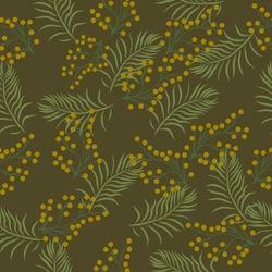 seamless pattern with tropical leaves with olive green background and yellow buds