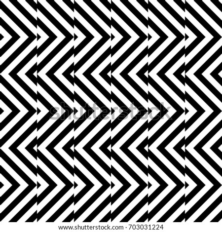 Seamless pattern with turned squares (rhombuses), striped black white diagonal lines. Optical illusion effect. Geometric tile in op art style. Vector illusive background. Futuristic vibrant design.