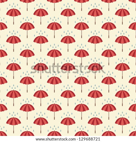 Seamless pattern with umbrellas and rain drops. Can be used to fabric design, wallpaper, decorative paper, web design, etc. Swatches of seamless patterns included in the file.