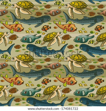 Seamless pattern with underwater creatures.