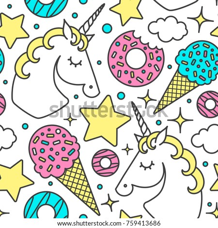 Seamless pattern with unicorn, clouds, stars, ice cream, donuts. Vector cartoon style cute character