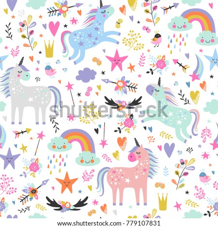 Seamless pattern with unicorns.
