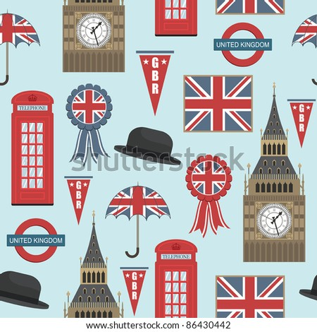 seamless pattern with united kingdom graphics, with clipping path