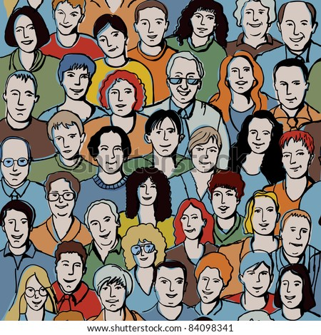 Seamless pattern with unrecognizable people faces. Seamless background with big smiling group people. With this picture you possible make very big crowd. Color vector illustration.