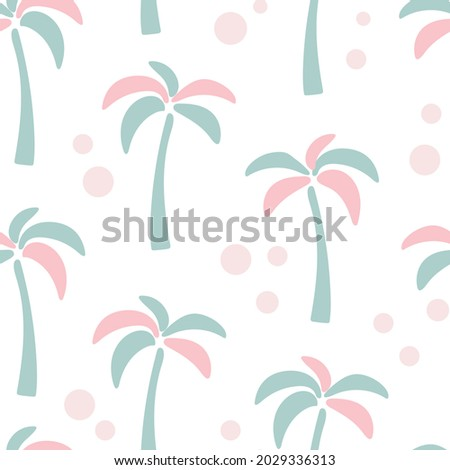 Seamless pattern with unusual colored palms vector illustration. Cute pastel background with exotic tropical trees. Template for wallpaper, textile, packaging and design.
