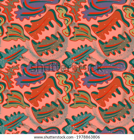 Seamless pattern with unusual nature leave motifs