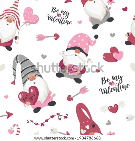 Seamless pattern with Valentine's Day gnomes. Vector illustration for wrapping paper and scrapbooking