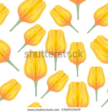 Seamless pattern with varietal vibrant yellow and orange tulip. Tulips colorful heads on the white background. Symmetrical tulip without leaves. Pattern for fabrics, print, web usage etc. Сток-фото ©