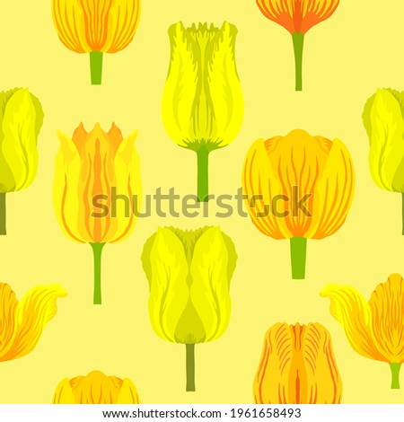 Seamless pattern with varietal vibrant yellow tulips. Tulips colorful heads on the light yellow background. Symmetrical tulip without leaves. Pattern for fabrics, print, web usage etc. Сток-фото ©