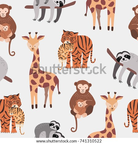 Seamless pattern with various cute and funny cartoon zoo animals on white background - monkeys, sloth, tiger, giraffe. Colorful vector illustration for fabric print, wallpaper, wrapping paper.