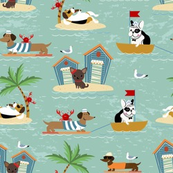 Seamless pattern with various dogs on vacations. French Bulldog sailing on a boat, Dachshund surfing, Beagle eating ice cream under the palm tree, Chihuahua chilling on the beach. Vector illustration