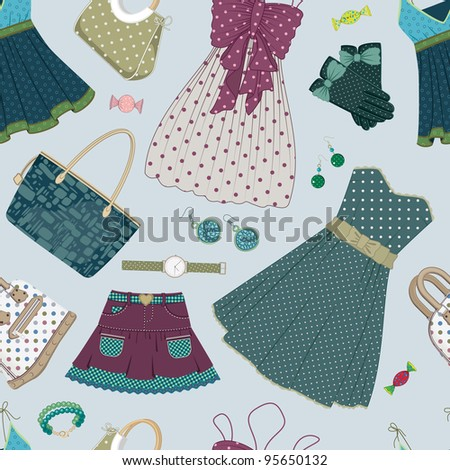 Seamless pattern with various  women's clothing, shoes and accessories mainly in green and blue colors