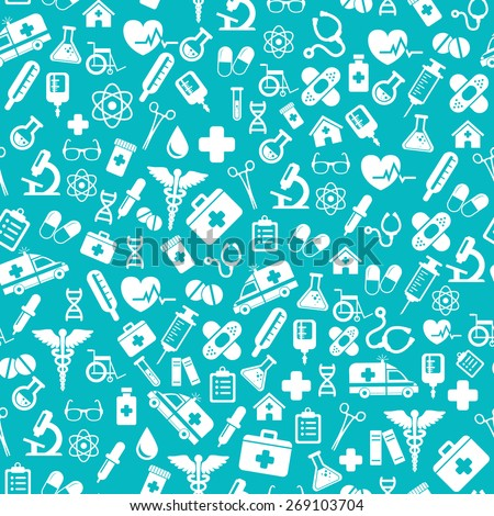 Seamless pattern with vector Medical Icons in flat style. Medical white icons on blue background for your design.