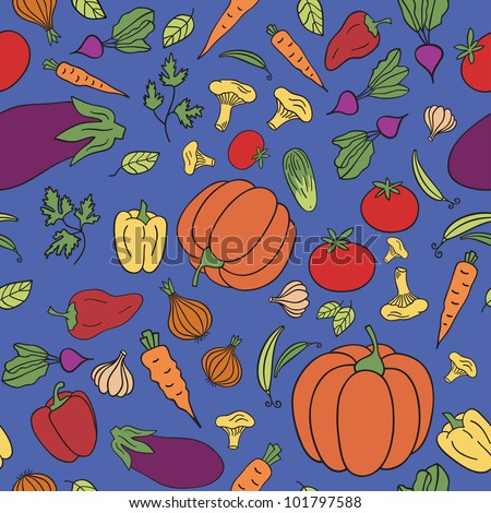 Seamless pattern with vegetables. - stock vector