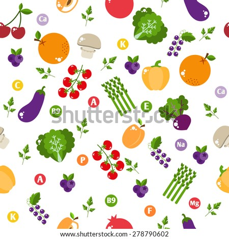 Seamless pattern with vegetables and fruits. Bright design into flat style with vitamins and minerals. Fresh organic food for a healthy lifestyle. vector