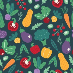 Seamless pattern with vegetables - carrot, pepper, beet, squash, cherry tomato, green peas, cucumber slices on dark background. Perfect for vegetarian, vegan restaurant, menu, healthy eating design